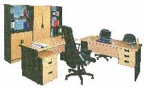 Meja Kantor Daiko 1 Biro + 1/2 Biro + Locker Beech